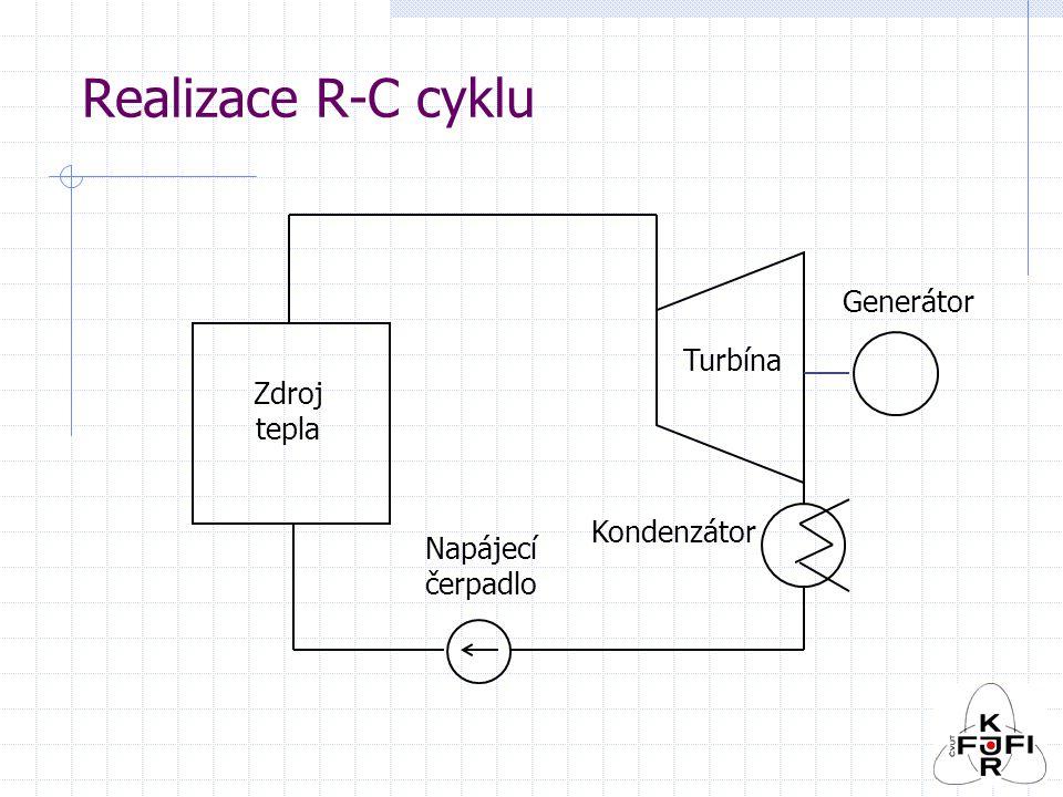 Realizace R-C cyklu Zdroj tepla Turbína Napájecí čerpadlo Kondenzátor Generátor