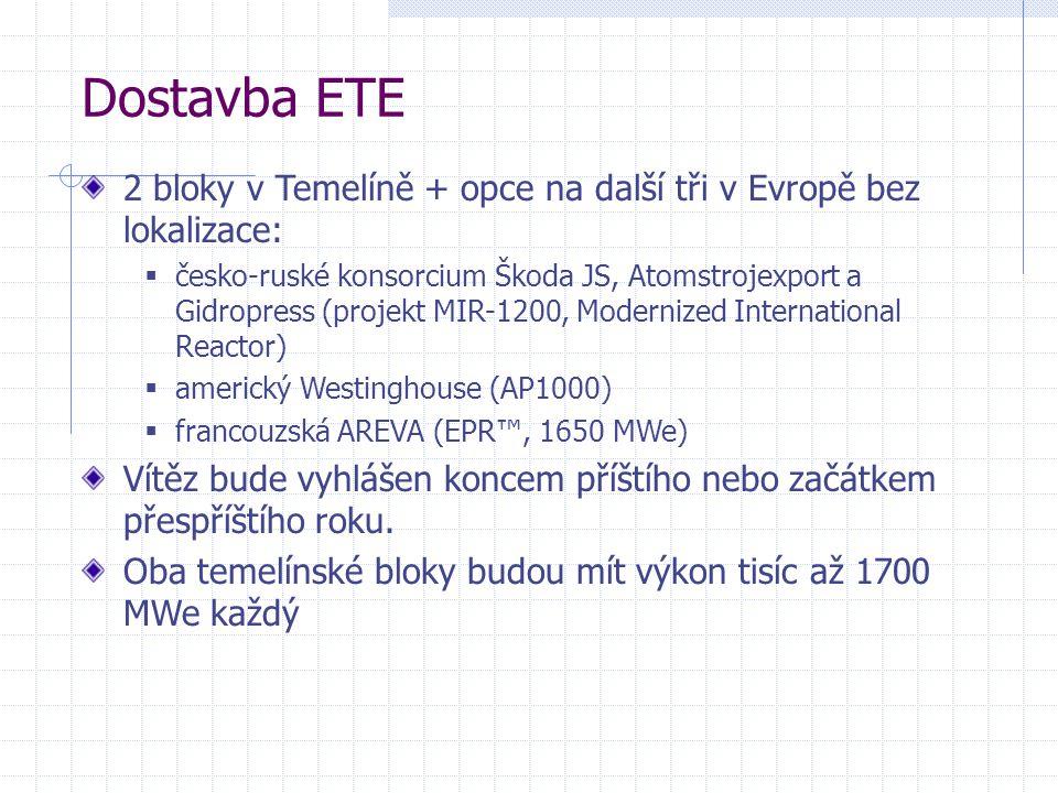 2 bloky v Temelíně + opce na další tři v Evropě bez lokalizace:  česko-ruské konsorcium Škoda JS, Atomstrojexport a Gidropress (projekt MIR-1200, Modernized International Reactor)  americký Westinghouse (AP1000)  francouzská AREVA (EPR™, 1650 MWe) Vítěz bude vyhlášen koncem příštího nebo začátkem přespříštího roku.
