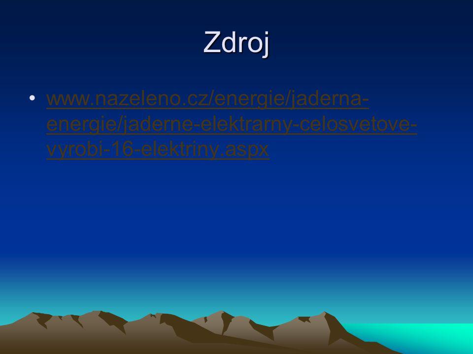 Zdroj www.nazeleno.cz/energie/jaderna- energie/jaderne-elektrarny-celosvetove- vyrobi-16-elektriny.aspx
