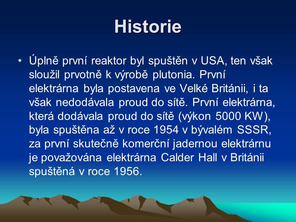 Historie Úplně první reaktor byl spuštěn v USA, ten však sloužil prvotně k výrobě plutonia. První elektrárna byla postavena ve Velké Británii, i ta vš
