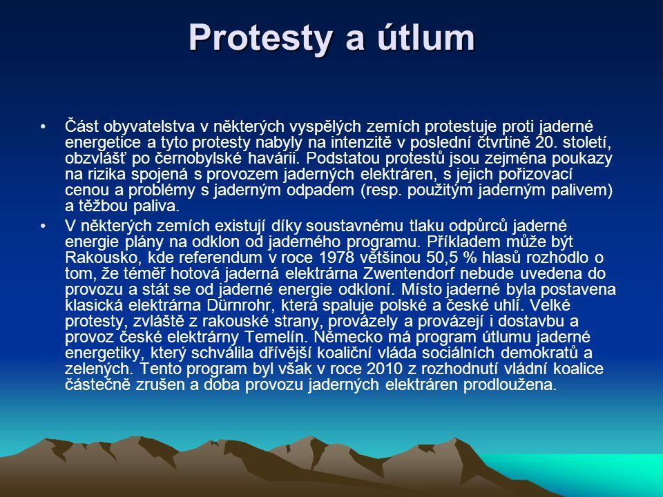 Protesty a útlum Část obyvatelstva v některých vyspělých zemích protestuje proti jaderné energetice a tyto protesty nabyly na intenzitě v poslední čtv
