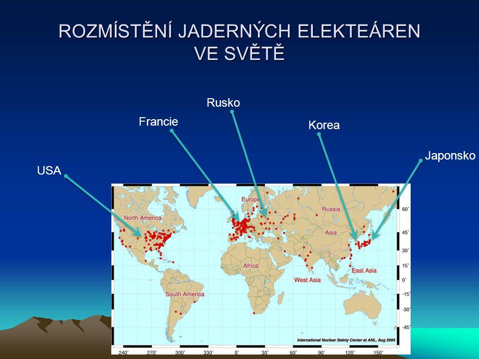 ROZMÍSTĚNÍ JADERNÝCH ELEKTEÁREN VE SVĚTĚ USA Japonsko Francie Rusko Korea