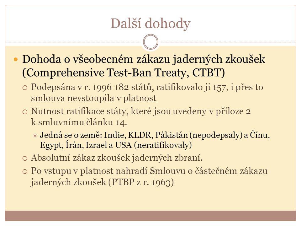 Další dohody Dohoda o všeobecném zákazu jaderných zkoušek (Comprehensive Test-Ban Treaty, CTBT)  Podepsána v r. 1996 182 států, ratifikovalo ji 157,