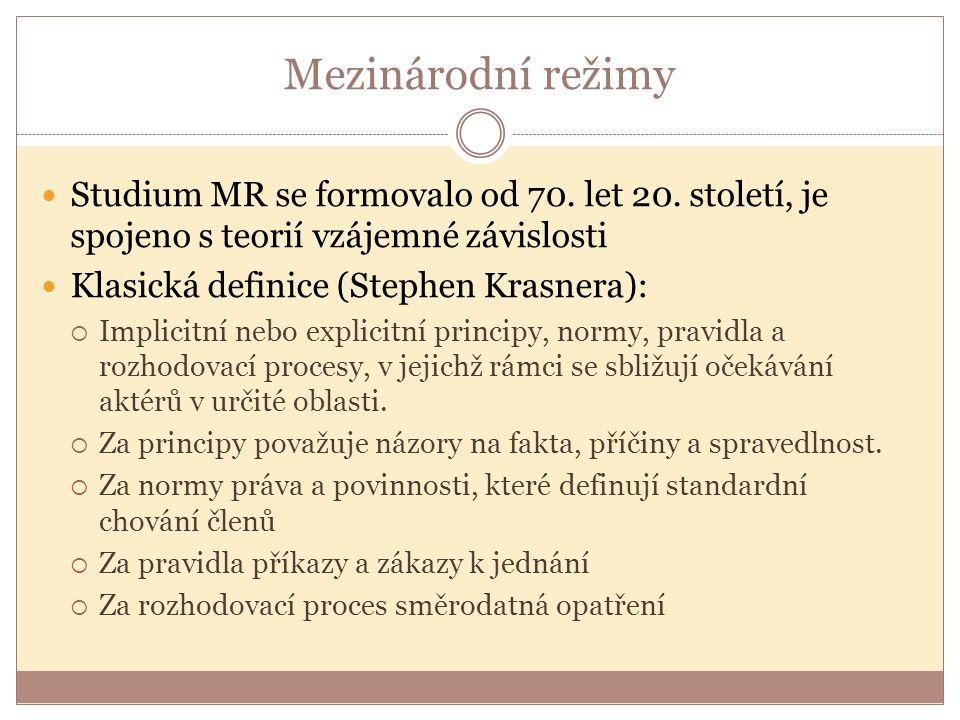 Studium MR se formovalo od 70. let 20. století, je spojeno s teorií vzájemné závislosti Klasická definice (Stephen Krasnera):  Implicitní nebo explic