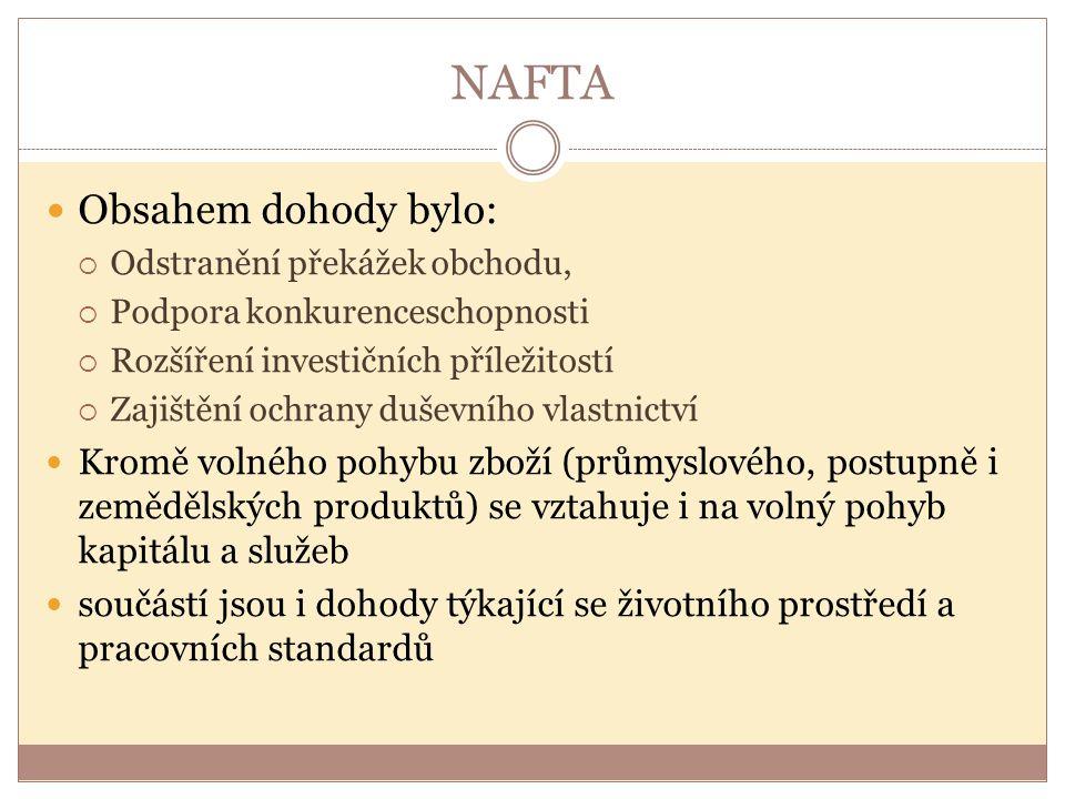 NAFTA Obsahem dohody bylo:  Odstranění překážek obchodu,  Podpora konkurenceschopnosti  Rozšíření investičních příležitostí  Zajištění ochrany duš