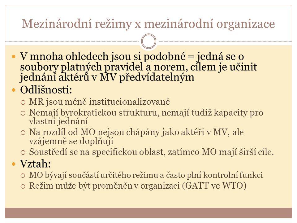 Mezinárodní režimy x mezinárodní organizace V mnoha ohledech jsou si podobné = jedná se o soubory platných pravidel a norem, cílem je učinit jednání a