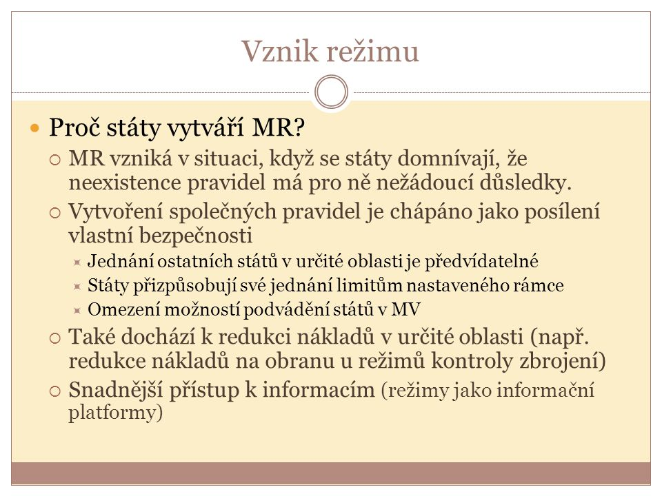 Typy režimů 1.