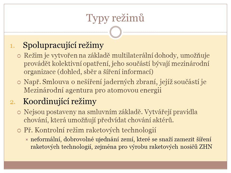 Typy režimů 1. Spolupracující režimy  Režim je vytvořen na základě multilaterální dohody, umožňuje provádět kolektivní opatření, jeho součástí bývají