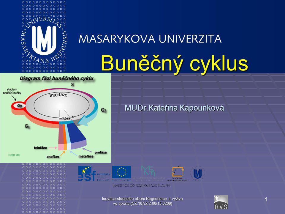 Inovace studijního oboru Regenerace a výživa ve sportu (CZ.107/2.2.00/15.0209) 1 Buněčný cyklus MUDr.Kateřina Kapounková