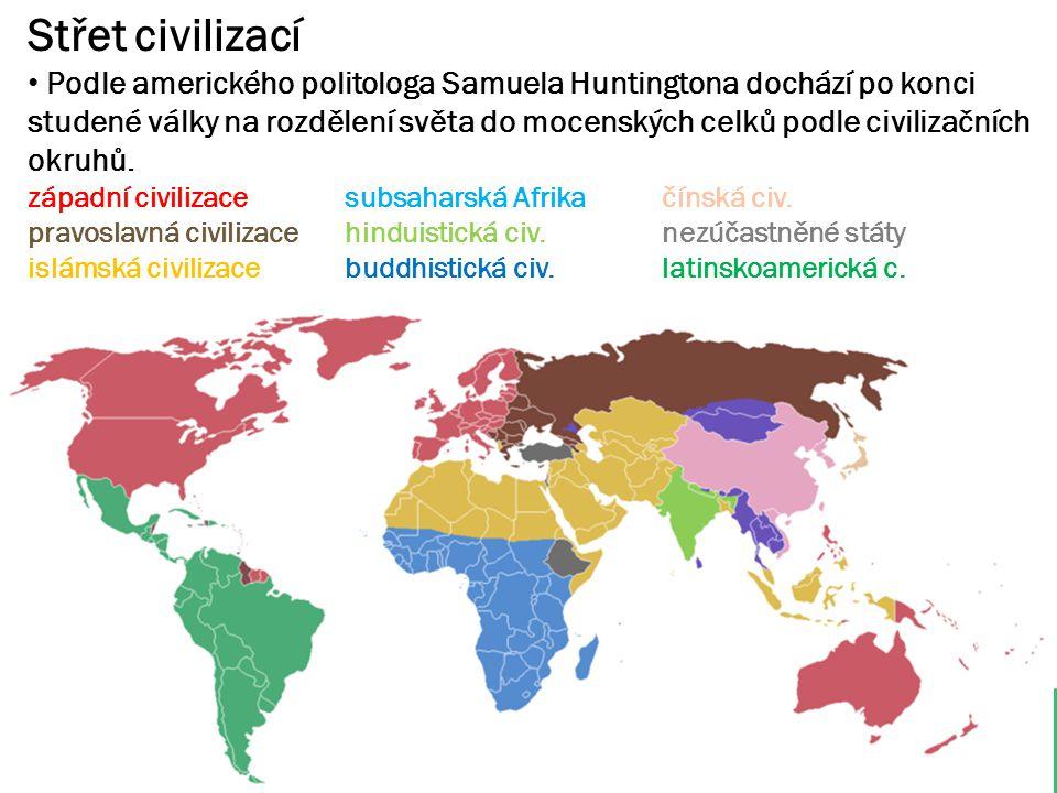 Střet civilizací Podle amerického politologa Samuela Huntingtona dochází po konci studené války na rozdělení světa do mocenských celků podle civilizač