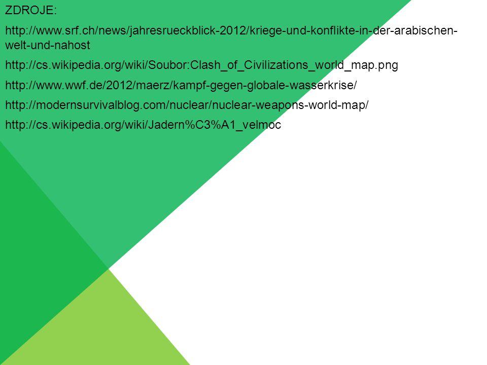 ZDROJE: http://www.srf.ch/news/jahresrueckblick-2012/kriege-und-konflikte-in-der-arabischen- welt-und-nahost http://cs.wikipedia.org/wiki/Soubor:Clash