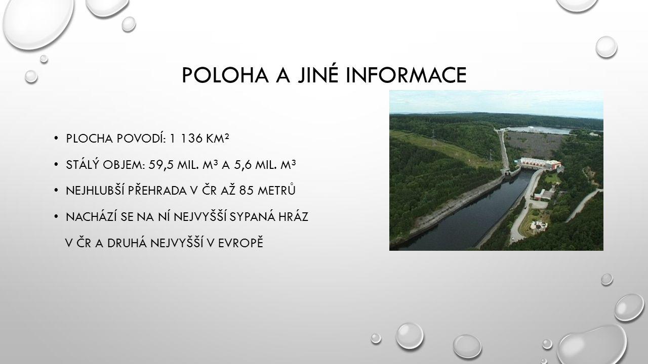 POLOHA A JINÉ INFORMACE PLOCHA POVODÍ: 1 136 KM² STÁLÝ OBJEM: 59,5 MIL.