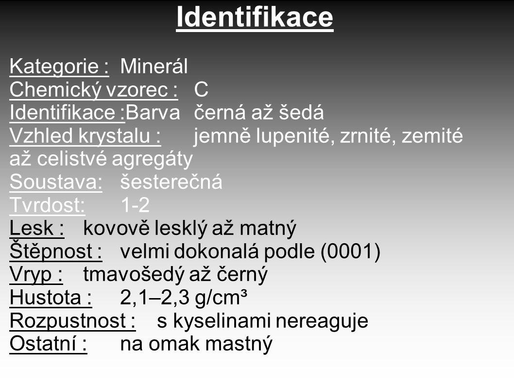 Identifikace Kategorie : Minerál Chemický vzorec : C Identifikace :Barva černá až šedá Vzhled krystalu :jemně lupenité, zrnité, zemité až celistvé agr