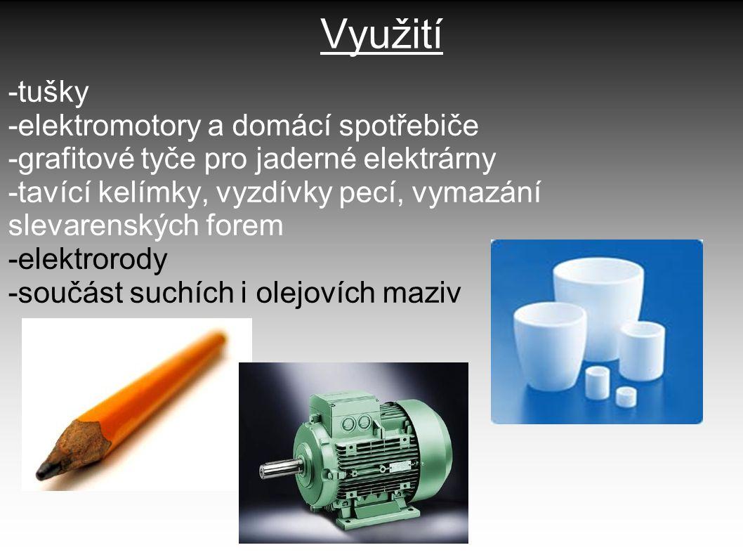 Využití -tušky -elektromotory a domácí spotřebiče -grafitové tyče pro jaderné elektrárny -tavící kelímky, vyzdívky pecí, vymazání slevarenských forem