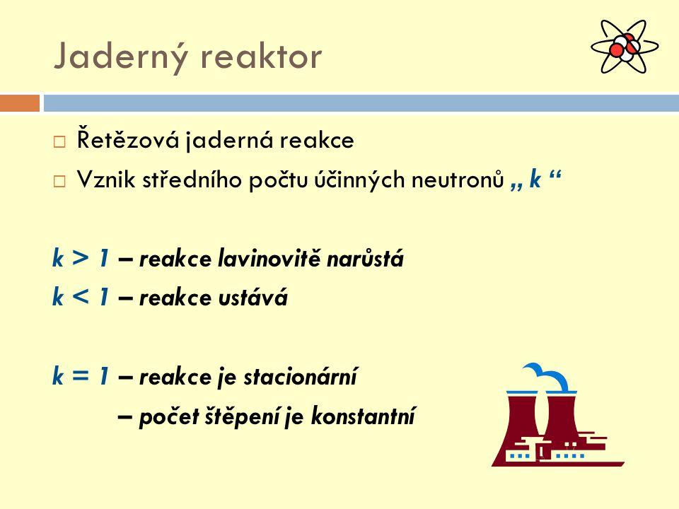 """Jaderný reaktor  Řetězová jaderná reakce  Vznik středního počtu účinných neutronů """" k k > 1 – reakce lavinovitě narůstá k < 1 – reakce ustává k = 1 – reakce je stacionární – počet štěpení je konstantní"""