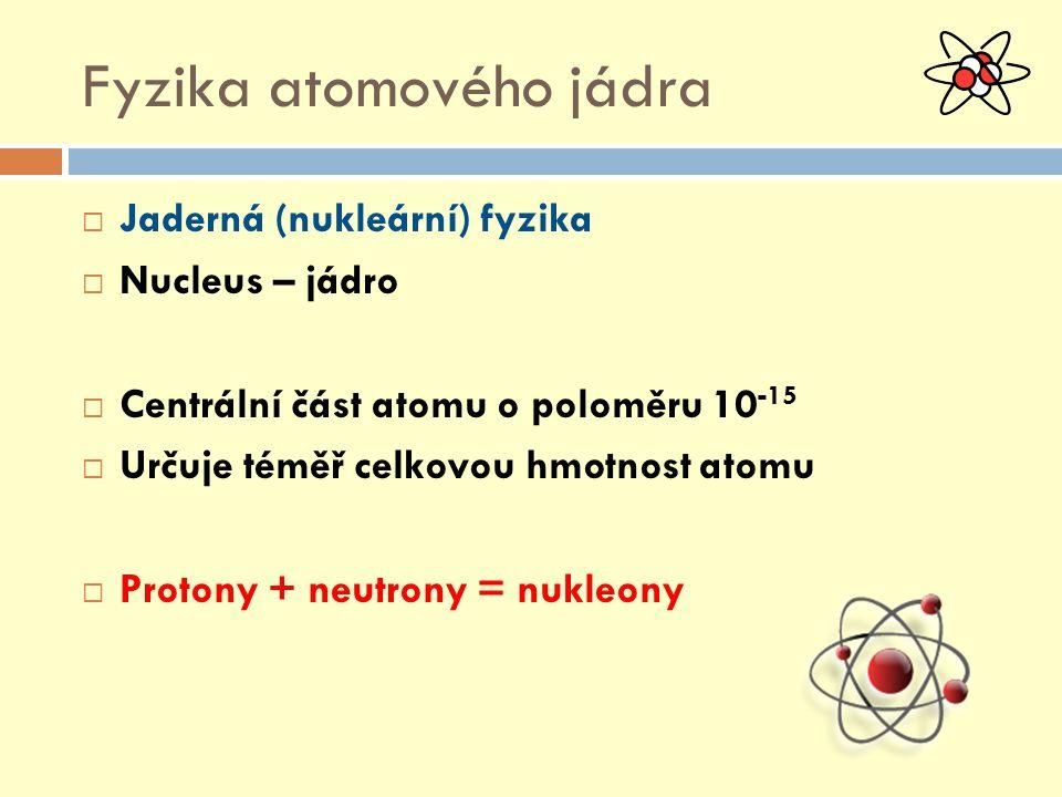 Fyzika atomového jádra  Jaderná (nukleární) fyzika  Nucleus – jádro  Centrální část atomu o poloměru 10 -15  Určuje téměř celkovou hmotnost atomu  Protony + neutrony = nukleony