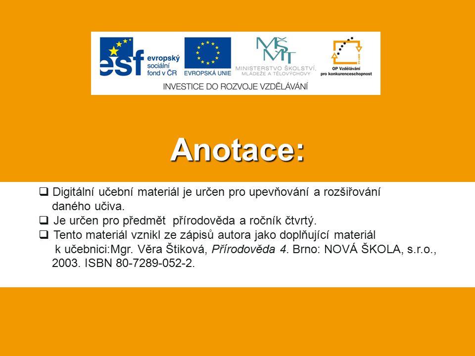 Anotace:  Digitální učební materiál je určen pro upevňování a rozšiřování daného učiva.