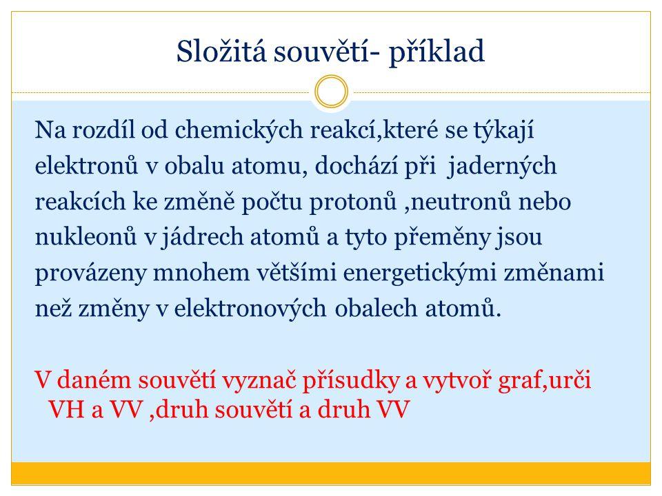 Složitá souvětí- příklad Na rozdíl od chemických reakcí,které se týkají elektronů v obalu atomu, dochází při jaderných reakcích ke změně počtu protonů,neutronů nebo nukleonů v jádrech atomů a tyto přeměny jsou provázeny mnohem většími energetickými změnami než změny v elektronových obalech atomů.