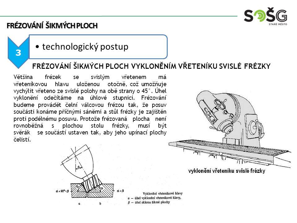 3 technologický postup FRÉZOVÁNÍ ŠIKMÝCH PLOCH Většina frézek se svislým vřetenem má vřeteníkovou hlavu uloženou otočně, což umožňuje vychýlit vřeteno