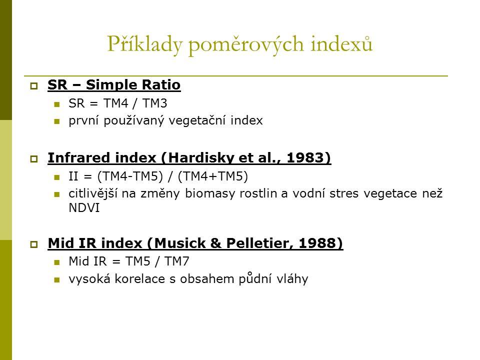 Příklady poměrových indexů  SR – Simple Ratio SR = TM4 / TM3 první používaný vegetační index  Infrared index (Hardisky et al., 1983) II = (TM4-TM5)