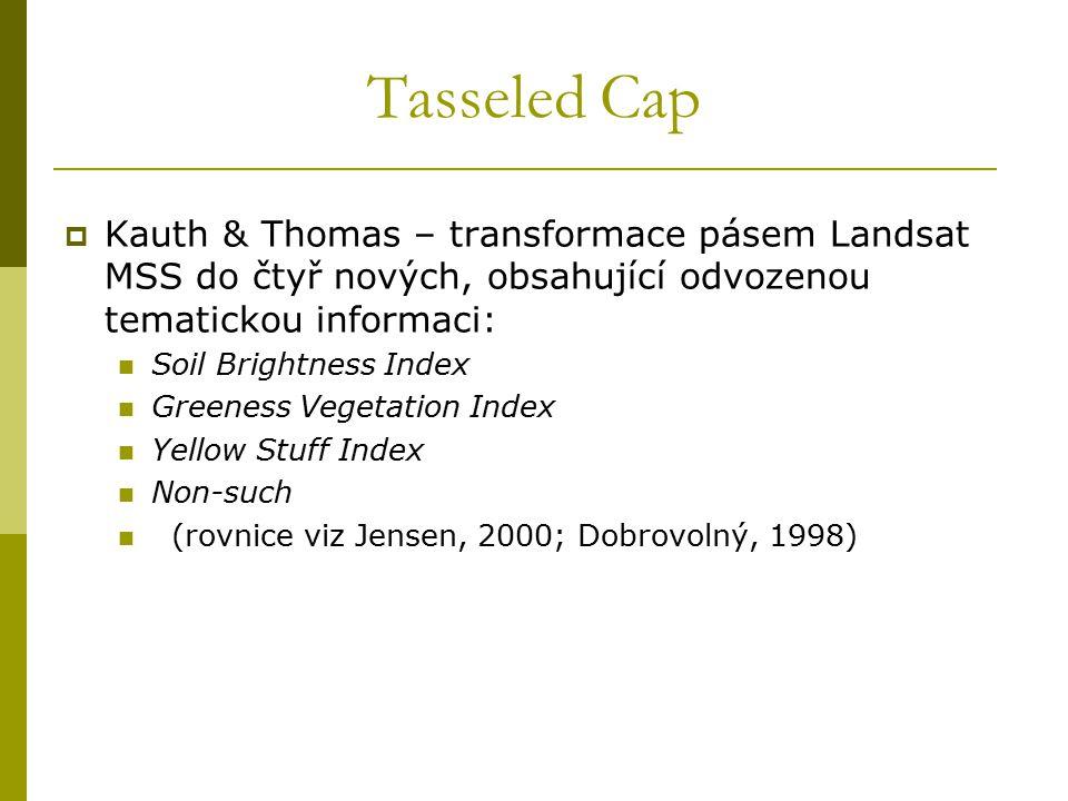 Tasseled Cap  Kauth & Thomas – transformace pásem Landsat MSS do čtyř nových, obsahující odvozenou tematickou informaci: Soil Brightness Index Greene