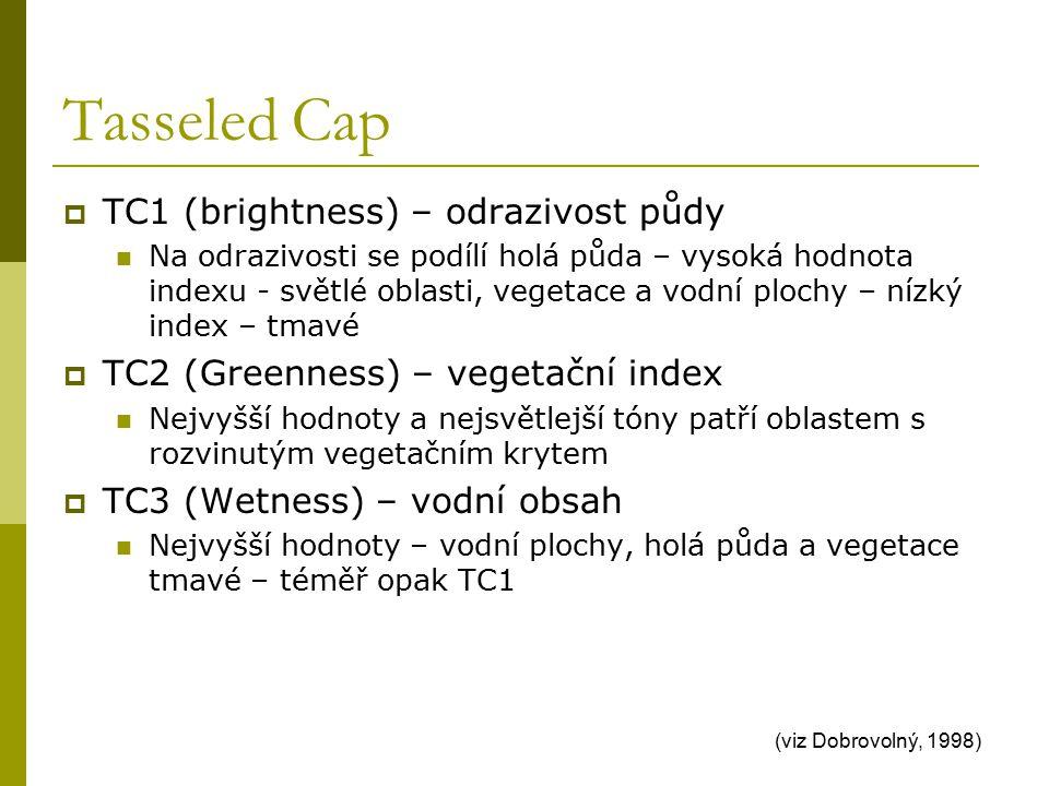 Tasseled Cap  TC1 (brightness) – odrazivost půdy Na odrazivosti se podílí holá půda – vysoká hodnota indexu - světlé oblasti, vegetace a vodní plochy