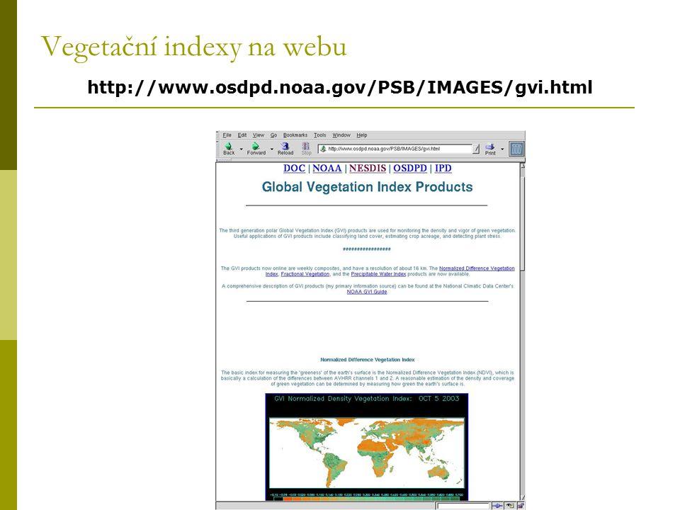 Vegetační indexy na webu http://www.osdpd.noaa.gov/PSB/IMAGES/gvi.html