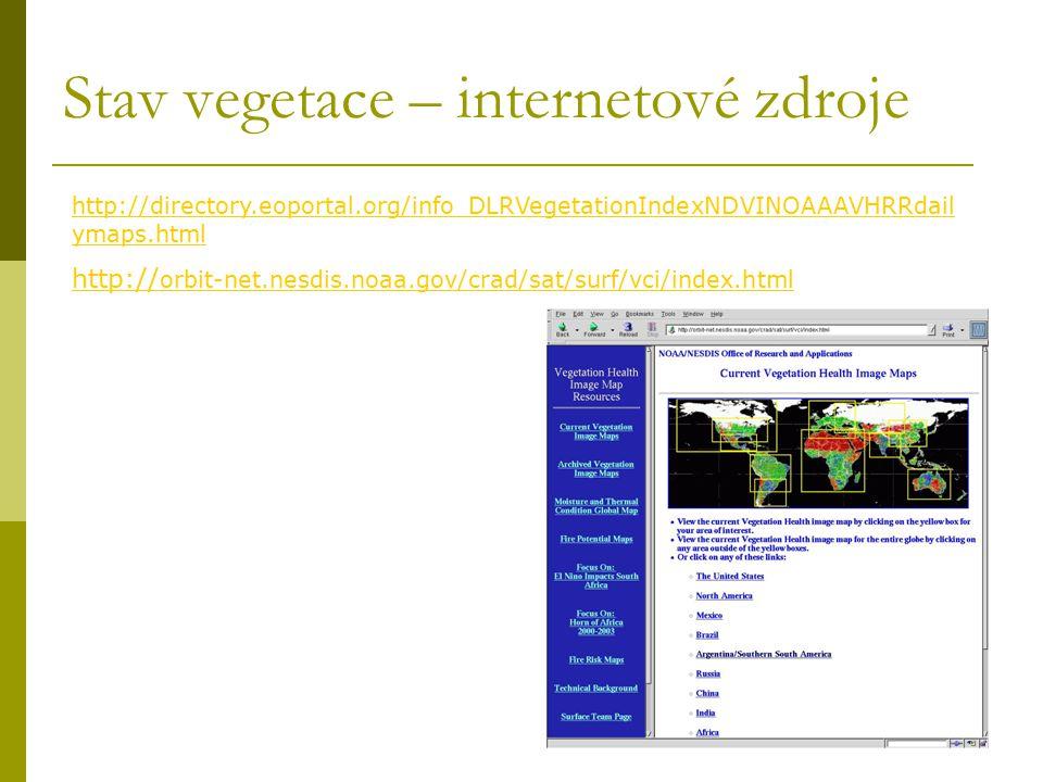 Stav vegetace – internetové zdroje http:// orbit-net.nesdis.noaa.gov/crad/sat/surf/vci/index.html http://directory.eoportal.org/info_DLRVegetationInde