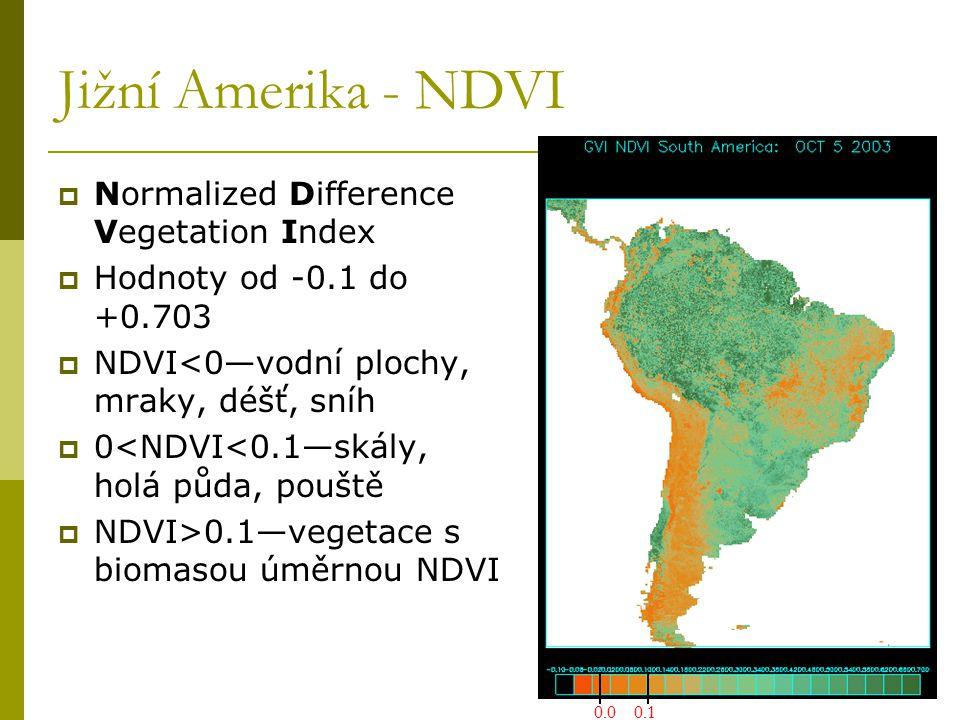 Jižní Amerika - NDVI  Normalized Difference Vegetation Index  Hodnoty od -0.1 do +0.703  NDVI<0—vodní plochy, mraky, déšť, sníh  0<NDVI<0.1—skály,