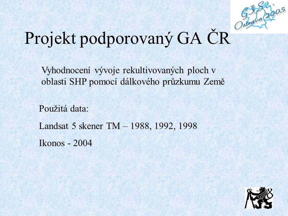 Projekt podporovaný GA ČR Vyhodnocení vývoje rekultivovaných ploch v oblasti SHP pomocí dálkového průzkumu Země Použitá data: Landsat 5 skener TM – 1988, 1992, 1998 Ikonos - 2004