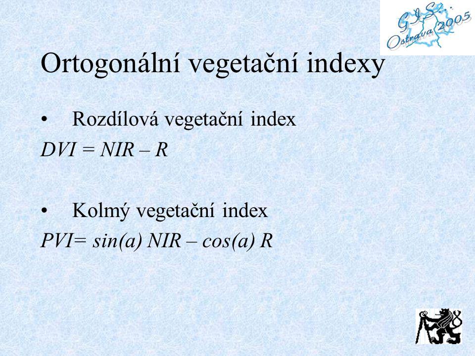 Ortogonální vegetační indexy Rozdílová vegetační index DVI = NIR – R Kolmý vegetační index PVI= sin(a) NIR – cos(a) R