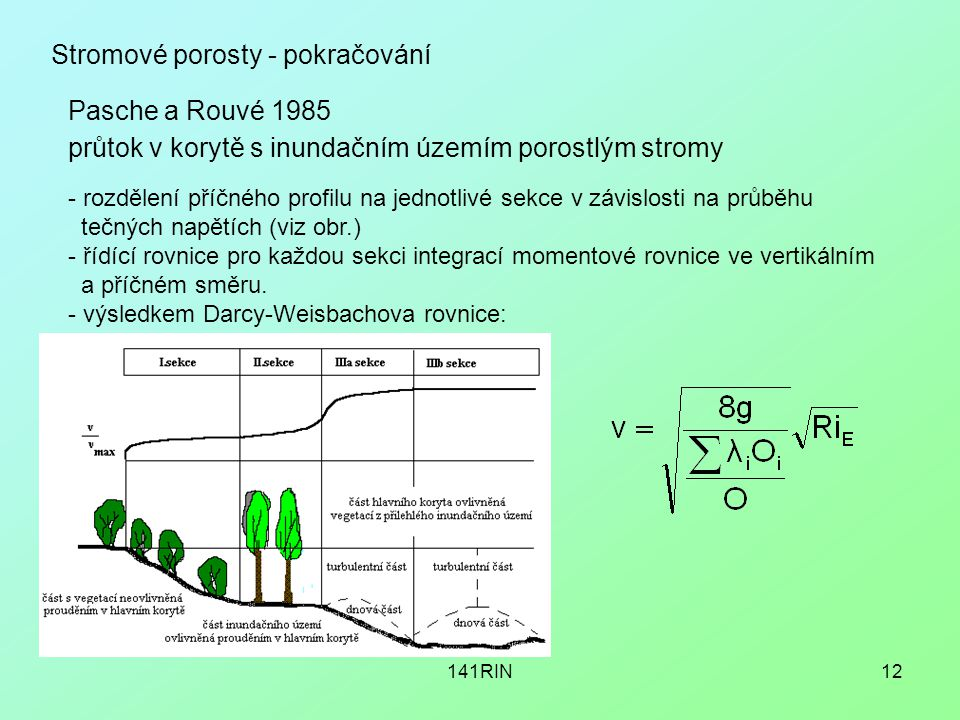 141RIN12 průtok v korytě s inundačním územím porostlým stromy Pasche a Rouvé 1985 - rozdělení příčného profilu na jednotlivé sekce v závislosti na průběhu tečných napětích (viz obr.) - řídící rovnice pro každou sekci integrací momentové rovnice ve vertikálním a příčném směru.