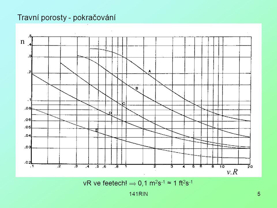141RIN6 Travní porosty - pokračování další výzkumy  pokusy USSCS velký sklon (i > ca 1%) kanálů n již není f(i)
