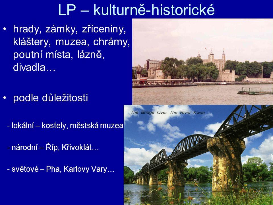 LP – kulturně-historické hrady, zámky, zříceniny, kláštery, muzea, chrámy, poutní místa, lázně, divadla… podle důležitosti - lokální – kostely, městská muzea - národní – Říp, Křivoklát… - světové – Pha, Karlovy Vary…