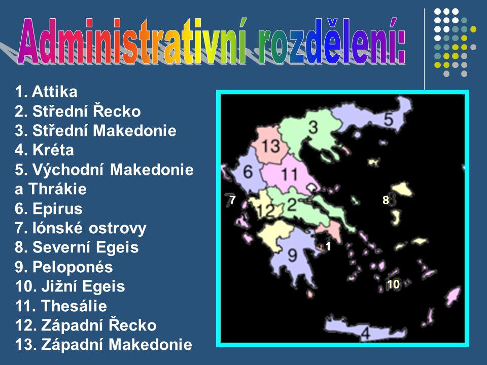 1 78 10 1. Attika 2. Střední Řecko 3. Střední Makedonie 4.