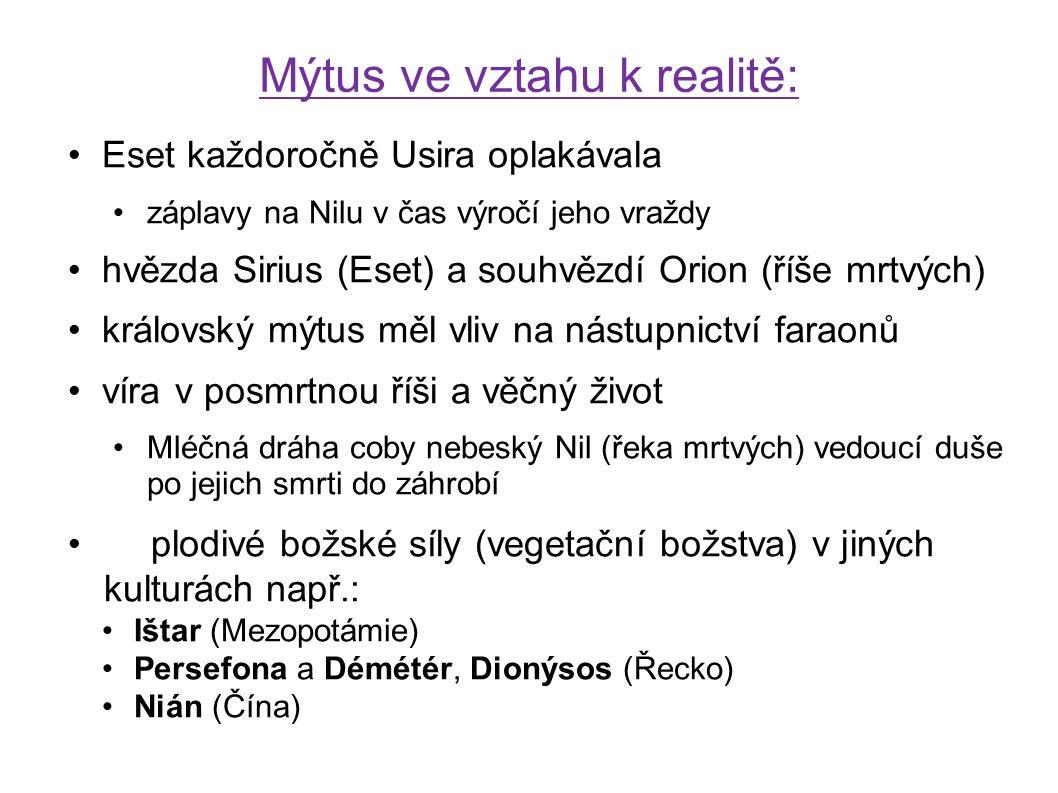 Eset každoročně Usira oplakávala záplavy na Nilu v čas výročí jeho vraždy hvězda Sirius (Eset) a souhvězdí Orion (říše mrtvých) královský mýtus měl vl