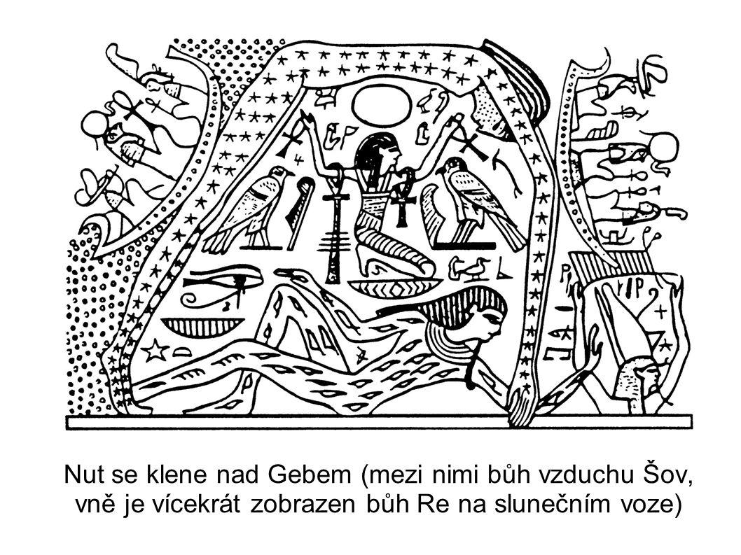 Nut se klene nad Gebem (mezi nimi bůh vzduchu Šov, vně je vícekrát zobrazen bůh Re na slunečním voze)