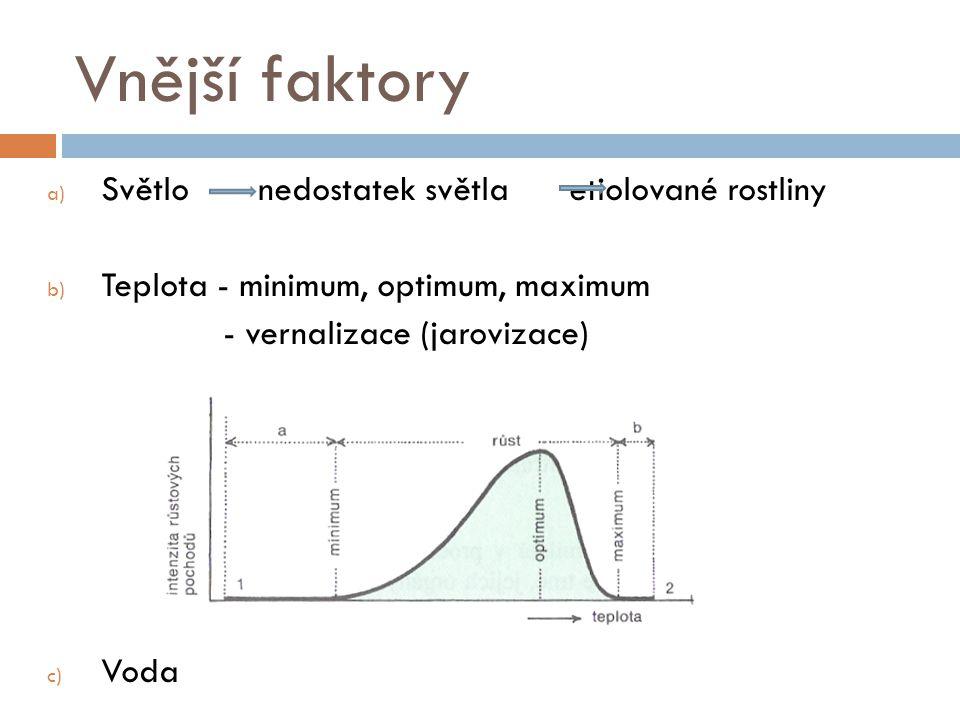 Vnější faktory a) Světlo nedostatek světla etiolované rostliny b) Teplota - minimum, optimum, maximum - vernalizace (jarovizace) c) Voda