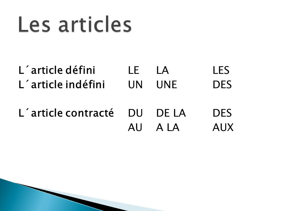 L´article définiLELALES L´article indéfiniUNUNEDES L´article contractéDUDE LADES AUA LAAUX