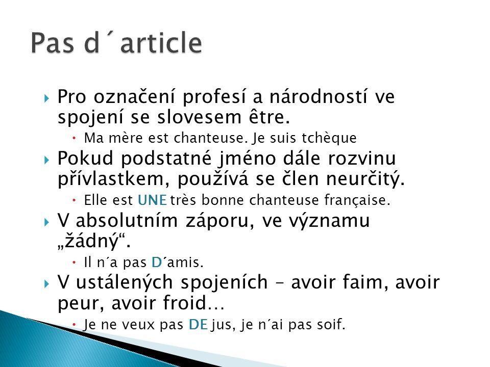  Pro označení profesí a národností ve spojení se slovesem être.