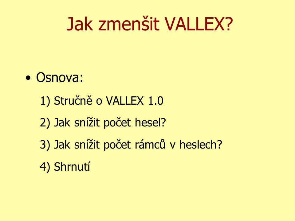 Jak zmenšit VALLEX. Osnova: 1) Stručně o VALLEX 1.0 2) Jak snížit počet hesel.
