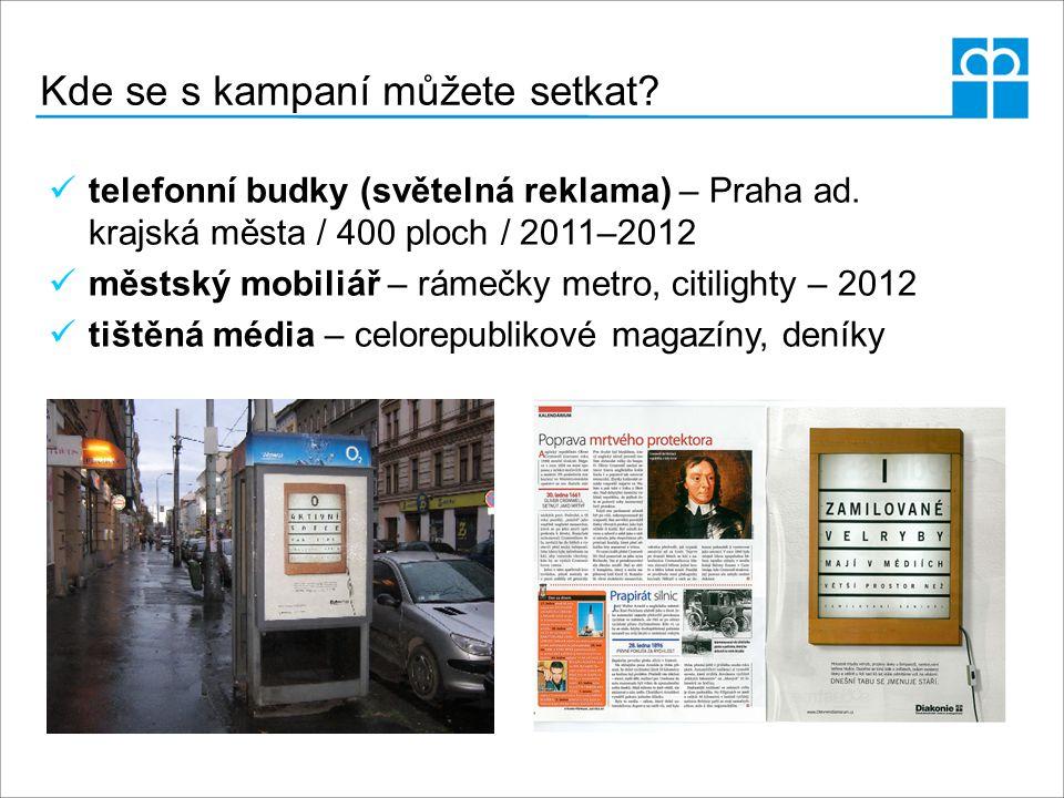 Kde se s kampaní můžete setkat? telefonní budky (světelná reklama) – Praha ad. krajská města / 400 ploch / 2011–2012 městský mobiliář – rámečky metro,