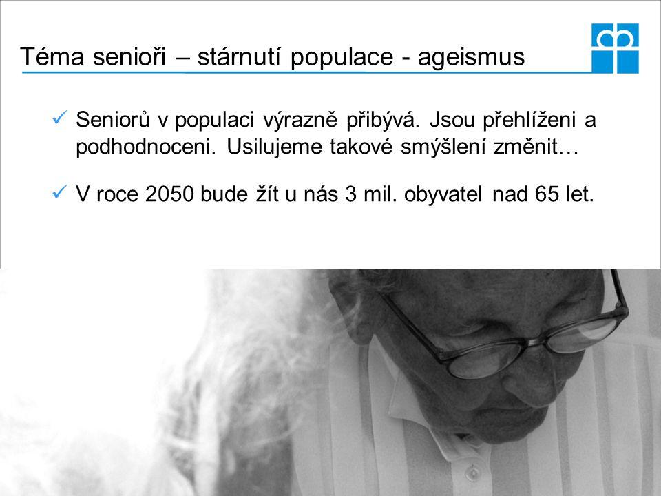 Téma senioři – stárnutí populace - ageismus Seniorů v populaci výrazně přibývá. Jsou přehlíženi a podhodnoceni. Usilujeme takové smýšlení změnit… V ro