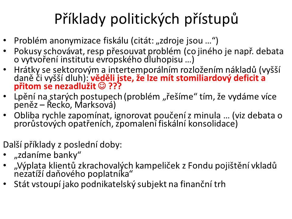 """Příklady politických přístupů Problém anonymizace fiskálu (citát: """"zdroje jsou … ) Pokusy schovávat, resp přesouvat problém (co jiného je např."""