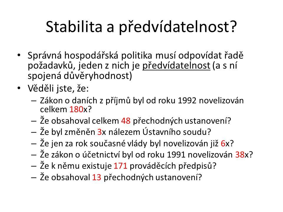 Stabilita a předvídatelnost.
