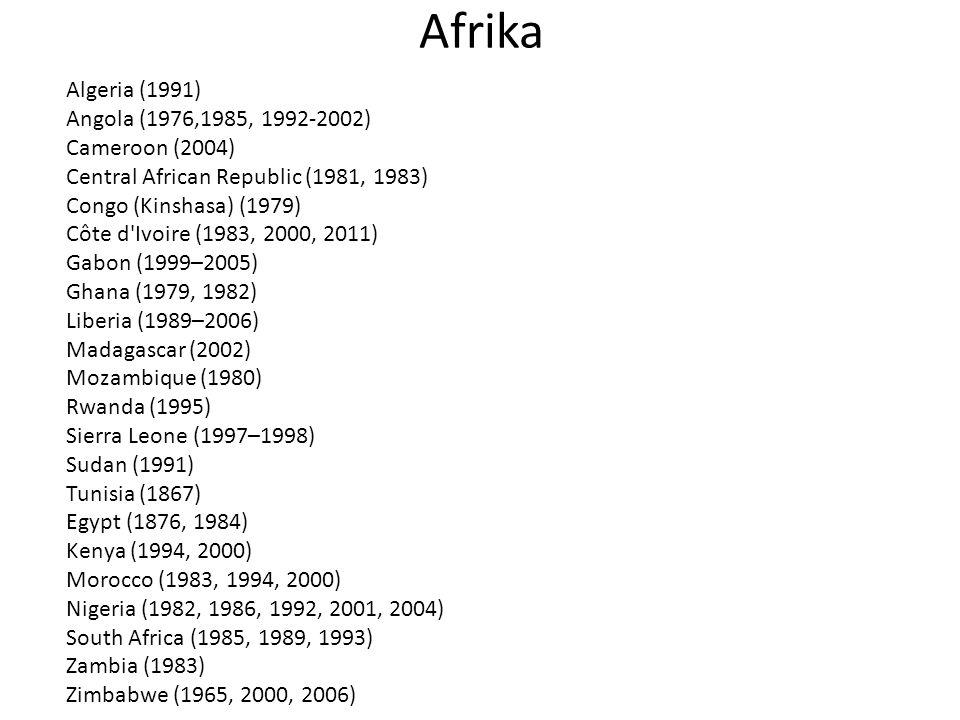 Afrika Algeria (1991) Angola (1976,1985, 1992-2002) Cameroon (2004) Central African Republic (1981, 1983) Congo (Kinshasa) (1979) Côte d Ivoire (1983, 2000, 2011) Gabon (1999–2005) Ghana (1979, 1982) Liberia (1989–2006) Madagascar (2002) Mozambique (1980) Rwanda (1995) Sierra Leone (1997–1998) Sudan (1991) Tunisia (1867) Egypt (1876, 1984) Kenya (1994, 2000) Morocco (1983, 1994, 2000) Nigeria (1982, 1986, 1992, 2001, 2004) South Africa (1985, 1989, 1993) Zambia (1983) Zimbabwe (1965, 2000, 2006)