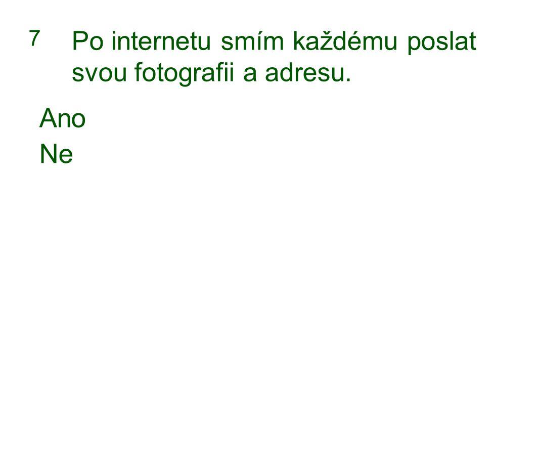 7 Po internetu smím každému poslat svou fotografii a adresu. Ano Ne