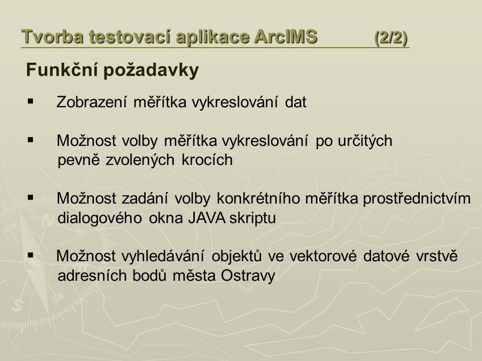Tvorba testovací aplikace ArcIMS (2/2)  Zobrazení měřítka vykreslování dat  Možnost volby měřítka vykreslování po určitých pevně zvolených krocích  Možnost zadání volby konkrétního měřítka prostřednictvím dialogového okna JAVA skriptu  Možnost vyhledávání objektů ve vektorové datové vrstvě adresních bodů města Ostravy Funkční požadavky