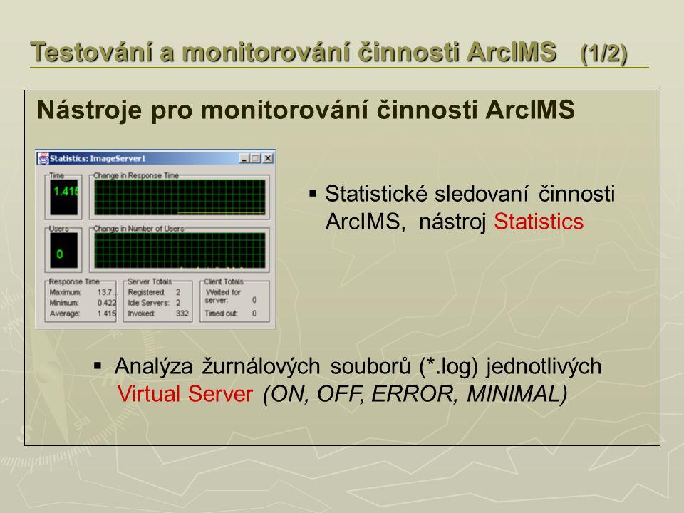 Testování a monitorování činnosti ArcIMS (1/2) Nástroje pro monitorování činnosti ArcIMS  Statistické sledovaní činnosti ArcIMS, nástroj Statistics  Analýza žurnálových souborů (*.log) jednotlivých Virtual Server (ON, OFF, ERROR, MINIMAL)