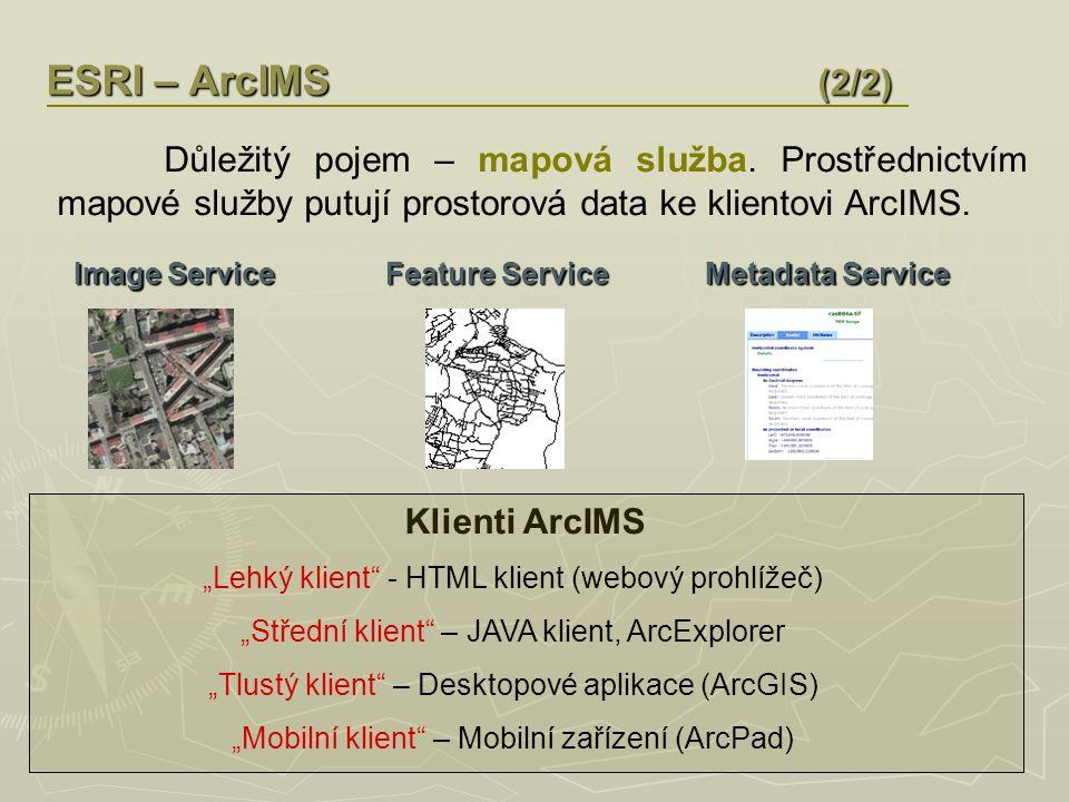 ESRI – ArcSDE ArcSDE je programový prostředek, který umožňuje využívat a spravovat prostorová data prostřednictvím SŘBD.
